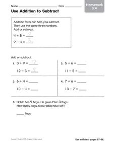 Use Addition to Subtract: Homework Worksheet