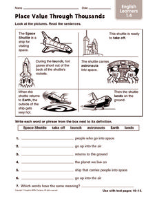 Place Value Through Thousands: English Learners Worksheet
