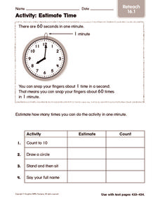Activity: Estimate Time: Reteach Worksheet
