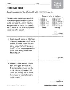 Regroup Tens Problem Solving 12.3 Worksheet