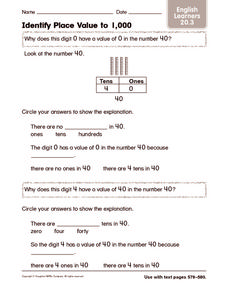 Identify Place Value to 1,000: English Learners Worksheet