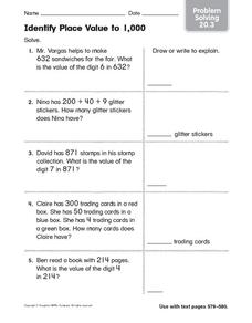 Identify Place Value to 1,000: Problem Solving Worksheet