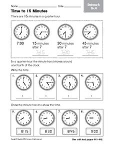 Time to 15 Minutes: Reteach Worksheet