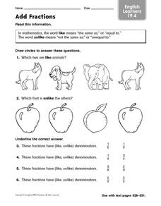 Add Fractions: English Learners Worksheet