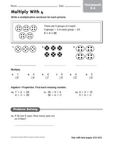 Multiply With 4: Homework Worksheet