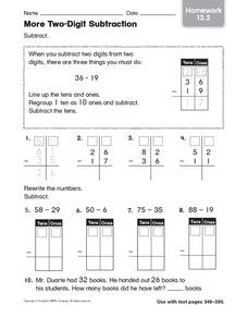 More Two-Digit Subtraction homework 13.2 Worksheet