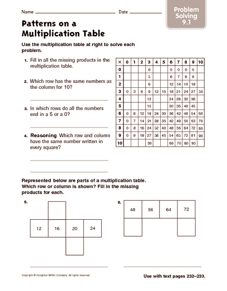 patterns on a multiplication table problem solving worksheet for 4th 5th grade lesson planet. Black Bedroom Furniture Sets. Home Design Ideas
