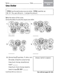 One Dollar: Homework Worksheet