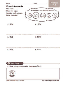 Equal Amounts: Practice Worksheet