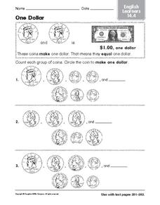 One Dollar: English Learners Worksheet