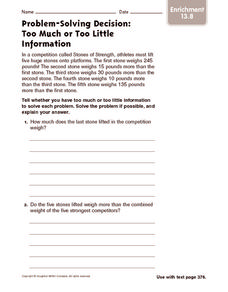 Problem-Solving Decision: Too Much or Too Little Information: Enrichment Worksheet