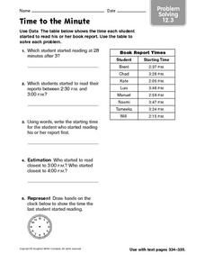 Time to the Minute problem solving 12.3 Worksheet