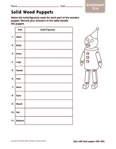 Solid Wood Puppets: Enrichment Worksheet
