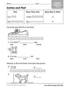 Inches and Feet English Learners Worksheet for 2nd   4th ...