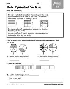Model Equivalent Fractions ELL 18.5 Worksheet