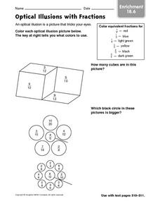 Optical Illusions with Fractions - Enrichment 18.6 Worksheet