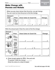 Make Change with Pennies and Nickels homework 15.6 Worksheet