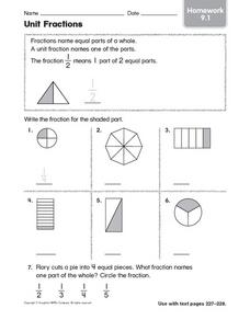 Unit Fractions Homework 9.1 Worksheet