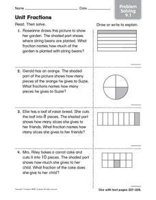 Unit Fractions: Problem Solving Worksheet