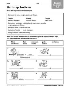 Multistep Problems English Learners 9.0 Worksheet