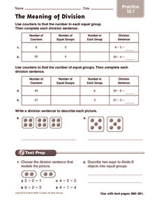 The Meaning of Division: Practice Worksheet
