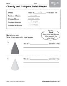 Classify and Compare Solid Shapes: Reteach Worksheet