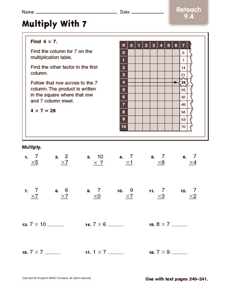 Multiply With 7: Reteach Worksheet