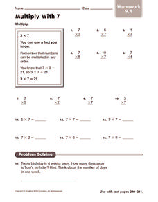 Multiply With 7: Homework Worksheet