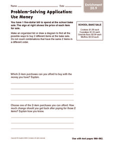 Problem-Solving Application: Use Money: Enrichment Worksheet