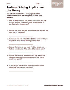 Problem-Solving Application: Use Money: Homework Worksheet