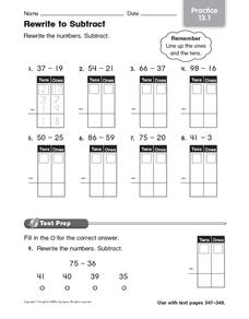 Rewrite to Subtract: Practice Worksheet