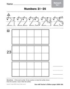 Numbers 21-25: Reteach Kindergarten - 1st Grade Worksheet | Lesson ...