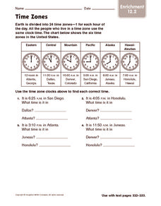Time Zones: Enrichment Worksheet