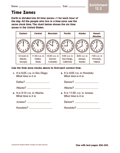 Time Zones Enrichment 4th  5th Grade Worksheet  Lesson Planet