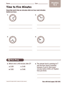 Time to Five Minutes: Practice Worksheet