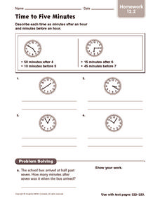 Time to Five Minutes: Homework Worksheet