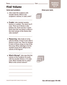 Find Volume: Problem Solving Worksheet