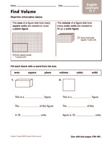 Find Volume: English Learners Worksheet