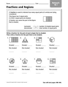 Fractions and Regions reteach 18.1 Worksheet