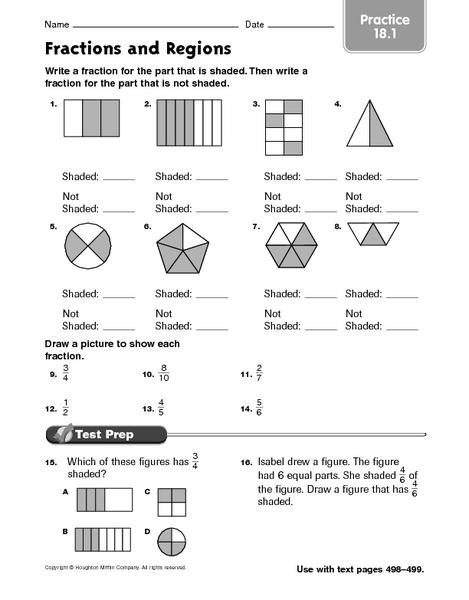 fractions and regions worksheet for 3rd grade lesson planet. Black Bedroom Furniture Sets. Home Design Ideas