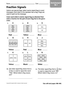 Fraction Signals enrichment 18.1 Worksheet