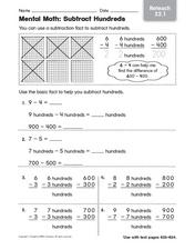 Mental Math: Subtract Hundreds - Reteaching Worksheet