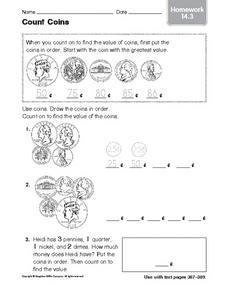 Count Coins: Homework Worksheet