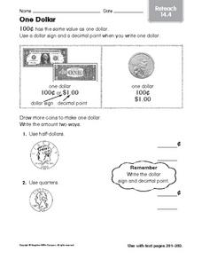One Dollar  reteach 14.4 Worksheet