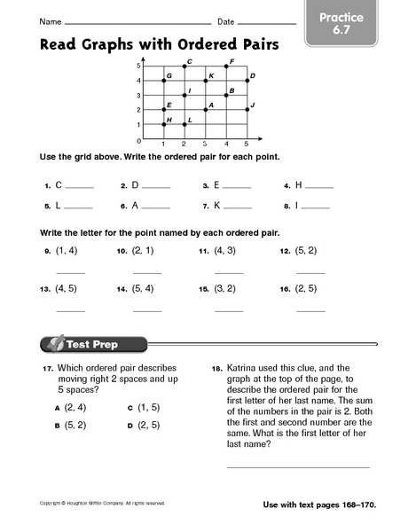 Read Graphs with Ordered Pairs practice 6.7 Worksheet for 3rd - 4th Grade | Lesson Planet