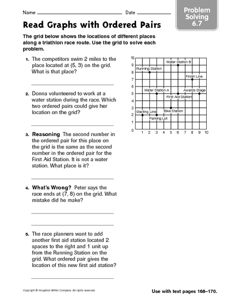 Ordered Pair Word Problems Lesson Plans Worksheets