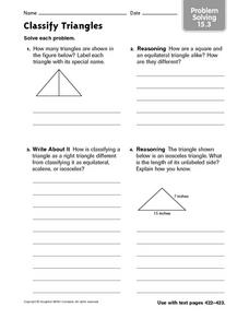 Classify Triangles - Problem Solving 15.3 Worksheet