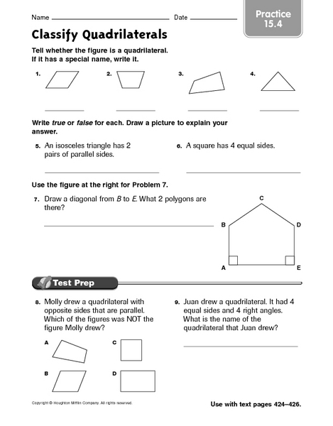 Classify Quadrilaterals Practice 15 4 Worksheet For 4th
