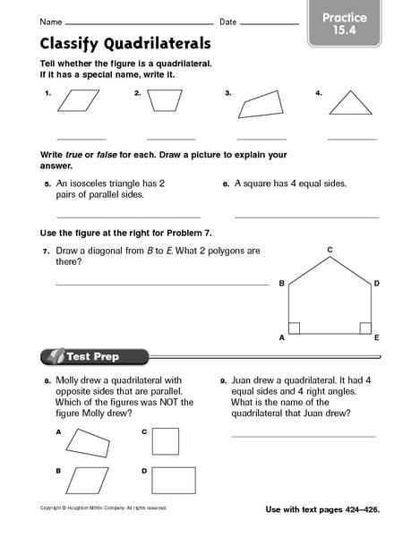 Worksheets Classify Quadrilaterals Worksheet classifying quadrilaterals worksheet 17 best images about math geometry on pinterest