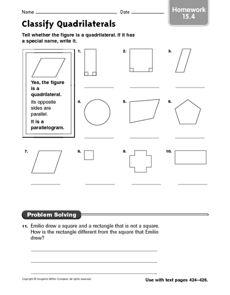 classify quadrilaterals worksheet worksheets releaseboard free printable worksheets and activities. Black Bedroom Furniture Sets. Home Design Ideas